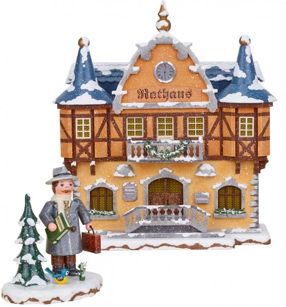 Hubrig Winterkinder SET Winterhaus Rathaus und Bürgermeister