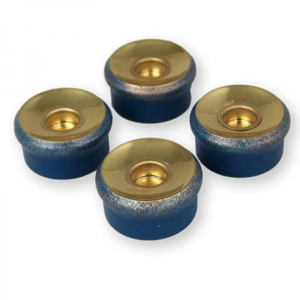 Hubrig Teelichtglaseinsatz blau-gold für Engelsorchester-Pyramide