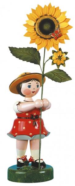 Hubrig Blumenkinder Großes Blumenmädchen mit rotem Kleid und Sonnenblume